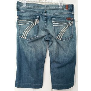 7 For All Mankind Blue Dojo Cropped Bermuda Shorts